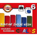 Křídy školní barevné 6ks