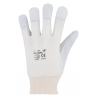 Kombinované jemné rukavice, dlaň z kozinky, bavlněný hřbet, pružný úplet na zápěstí